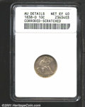 1838-O 10C No Stars--Corroded, Scratched--ANACS. AU Details, Net XF40. Lightly porous fields upon which light scratches...