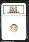 1858 10C MS67 NGC. An expertly struck and brilliant Superb Gem, with shimmering satiny luster. Struck from clashed dies...