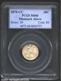 1875-CC 10C Mintmark Above Bow MS66 PCGS. A coin with slate-gray colors that are lightly peppered with russet. A lustrou...
