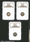 Trio of Certified Barber Dimes: 1900 10C MS63 NGC; and (2) 1900 MS64 NGC, all three coins are deeply toned and well stru...