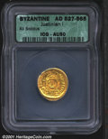 Ancients:Byzantine, Justinian I. 527-565 AD gold solidus, Helmeted and cuirassed bu...