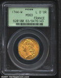 Louis XV gold Louis d'or 1744-W, Bust left/Crowned arms with date, F-463, KM-513.22, MS63 PCGS. Fully lustrous and brigh...