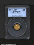 Mexico: , Republic gold 1/2 escudo 1845 Mo-MF, Hand on book with date and...