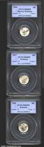 1916 10C MS64 Full Bands PCGS; 1917 MS64 Full Bands PCGS; and a 1920 MS64 Full Bands PCGS. An untoned trio that represen...