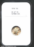 1918 10C MS67 Full Bands NGC. The single finest representative of this P-mint issue known to NGC and PCGS (9/01), this i...