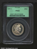 Proof Barber Quarters: , 1911 25C