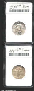 1917 25C Type One MS62 Full Head ANACS, untoned satin finish; and a 1917-D Type One AU58 Full Head ANACS, silver-gray, l...