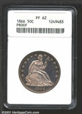 1866 50C PR62 ANACS. Lightly toned and deeply mirrored. From the Joseph M. Seventko Collection....(PCGS# 6424)