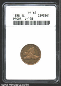 1858 P1C Flying Eagle Cent, Judd-198, Pollock-229, R.6-7, PR62 ANACS. The adopted Flying Eagle cent design with small le...
