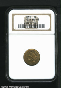 1859 P1C Indian Cent, Judd-228, Pollock-272, R.1, MS65 NGC. Same design and metallic composition as the preceding lot. A...