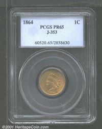 1864 1C One Cent, Judd-353, Pollock-425, R.5(?), MS65 PCGS. The design is the same as that of the regular issue 1864 No...
