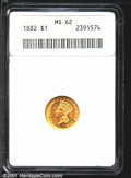 1882 G$1 MS62 ANACS. This is a brilliant, well-struck and lustrous example, with abrasions in the fields that are approp...