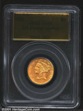 1856 $5 AU53 PCGS. Ex: S.S. Central America. An important opportunity for the collector of more modest means to acquire...
