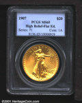 High Relief Double Eagles: , 1907 $20 HR, Flat