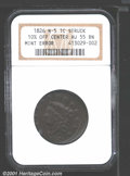 1826 1C Cent--10% Off Center--AU55 NGC. N-5. The impression is 10% off center at 9 o'clock with an extra lip of flan at...