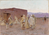 CHARLES JAMES THERIAT (American 1860-1937) Algerian Men Oil on canvas 13 x 18-1/8 inches (33 x 46 cm) Signed lower l