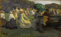 Fine Art - Painting, American:Antique  (Pre 1900), EDWARD HENRY POTTHAST (American 1857-1927). Lawn Tennis, St.Ives circa 1885-1890. Oil on panel. 5-5/8 x 9-1/16 inches (...