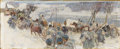 Fine Art - Painting, American:Modern  (1900 1949)  , LEON GASPARD (Russian-American 1882-1964). Troops in Winter,1916. Oil on board. 7-3/4 x 19 inches (20 x 48 cm). Signed,...