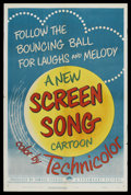"Movie Posters:Animated, Screen Song Cartoons Stock (Paramount, 1950). One Sheet (27"" X41""). Animated Short. Screen Song cartoons were crowd favorit..."