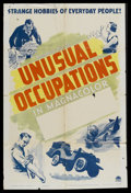 """Movie Posters:Short Subject, Unusual Occupations Stock (Paramount, 1941). One Sheet (27"""" X 41"""").Short Subject. Written by Walter Anthony. Narrated by Ke..."""