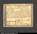 Colonial Notes:New Jersey, June 9, 1780, $4, New Jersey, NJ-187, VF+. A choice example for...