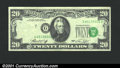 Error Notes:Shifted Third Printing, 1974 $20 Federal Reserve Note, Fr-2071-G, XF. The third printin...