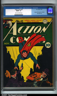 Action Comics #42 (DC, 1941). Condition: CGC FN/VF 7.0, light tan to off-white pages. Origin and first appearance of Vig...