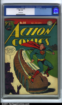 Action Comics #84 (DC, 1945). Condition: CGC FN+ 6.5, off-white pages. Overstreet 2001 FN 6.0 value = $205