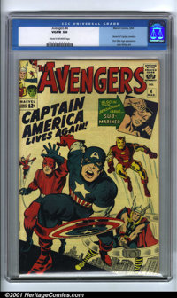 The Avengers #4 (Marvel, 1964). Condition: CGC VG/FN 5.0, cream to off-white pages. First Silver Age appearance of Capta...