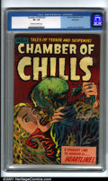 Golden Age (1938-1955):Horror, Chamber of Chills #23 Bethlehem pedigree (Harvey, 1951). Condition:CGC VF- 7.5, off-white to white pages. Bethlehem copy. O...