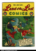 Golden Age (1938-1955):Humor, Land of the Lost #1 (EC, 1946). Condition: VG. Rusty staples. Centerfold pulled from bottom staple. Cover pulled from bottom...