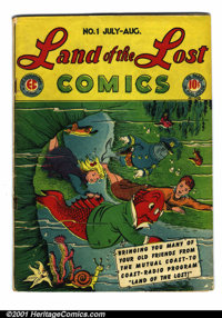 Land of the Lost #1 (EC, 1946). Condition: VG. Rusty staples. Centerfold pulled from bottom staple. Cover pulled from bo...