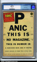 Golden Age (1938-1955):Humor, Panic #8 (EC, 1955). Condition: CGC FN/VF 7.0, off-white pages. Overstreet 2001 FN 6.0 value = $26; NM 9.4 value = $95....