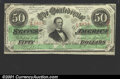 Confederate Notes:1863 Issues, 1863 $50 Black with green overprint; Jefferson Davis, T-57, AU ...