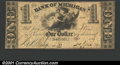 Obsoletes By State:Michigan, 1839 $1 Bank of Michigan, Detroit, VF. M422. ...