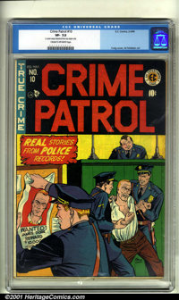 Crime Patrol #10 (EC, 1949). Condition: CGC VF- 7.5, cream to off-white pages. 2 center wraps detached from top staple o...