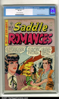 Golden Age (1938-1955):Romance, Saddle Romances #9 (EC, 1949). Condition: CGC FN 6.0, cream tooff-white pages. Overstreet 2001 FN 6.0 value = $125....