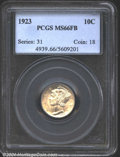 Mercury Dimes: , 1923 10C, FB