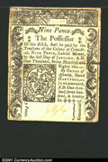 Colonial Notes:Connecticut, June 19, 1776, 9d, Connecticut, CT-206, VF. A long horizontal t...