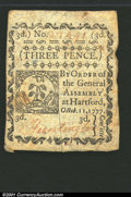 Colonial Notes:Connecticut, October 11, 1777, 3d, Connecticut, CT-215, XF, CC. ...