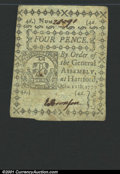 Colonial Notes:Connecticut, October 11, 1777, 4d, Connecticut, CT-216, AU. A very nice unca...