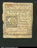 Colonial Notes:Connecticut, October 11, 1777, 7d, Connecticut, CT-218, XF. The left edge is...