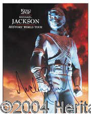 Michael Jackson - Colorful 12 x 15 History World Tour program boldly signed by The King of Pop in blue felt tip marker...