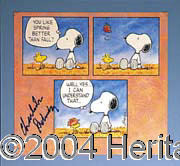 "Charles Schulz - Wonderful 10"" x 10"" color calendar photo of Schulz's famed ""Snoopy"" comic strip. Bo..."
