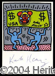 Keith Haring - Nice postcard depicting Haring¿s painting of Andy Warhol as ¿Andy Mouse,¿ entitled &...