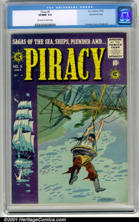 Piracy #5 Gaines File pedigree 6/12 (EC, 1955). CGC VF/NM 9.0, off-white to white pages. Gaines File copy, #6 of 12. Ove...
