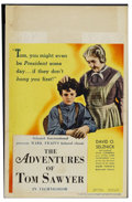 "Movie Posters:Adventure, The Adventures of Tom Sawyer (United Artists, 1938). Window Card(14"" X 22""). Adventure. Starring Tommy Kelly, Jackie Moran,..."