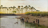 WILHELM KUHNERT (German 1865-1926) Egyptian Landscape Oil on canvas 26-3/4 x 15-1/2 inches (67.9 x 39.4 cm) Signed l