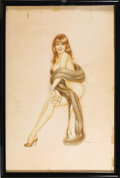 Illustration:Pin-Up, ALBERTO VARGAS (American 1896 - 1983) . Vargas Girl, 1969 .Watercolor and pencil on illustration board . 30 x 20in. . S...