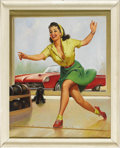 Illustration:Pin-Up, GIL ELVGREN (American 1914 - 1980) . Untitled, circa 1970 .Oil on canvas . 34 x 27-1/2in. . Not signed . Starting ar...